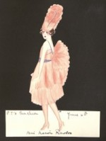 "A hand-made invitation on a black ground. The invitation is hand-made, and consists of a cut-out picture of a young woman with a bob, wearing a fluffy pink dress, pink high heels, and a pink feather headdress. Written on the invitation is ""P.T.s luncheon, June 6th, Miss Marion Rawson""."