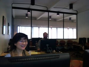 Staff members participating in the edit-a-thon, January 10th 2013