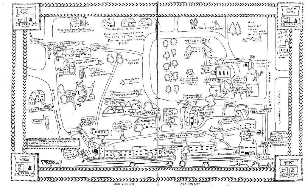 Bryn Mawr campus map in The Book of the Class of Nineteen Twenty-Six, 1926. Bryn Mawr College Special Collections.