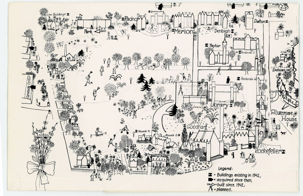 Bryn Mawr campus map, 1967. Bryn Mawr College Special Collections,