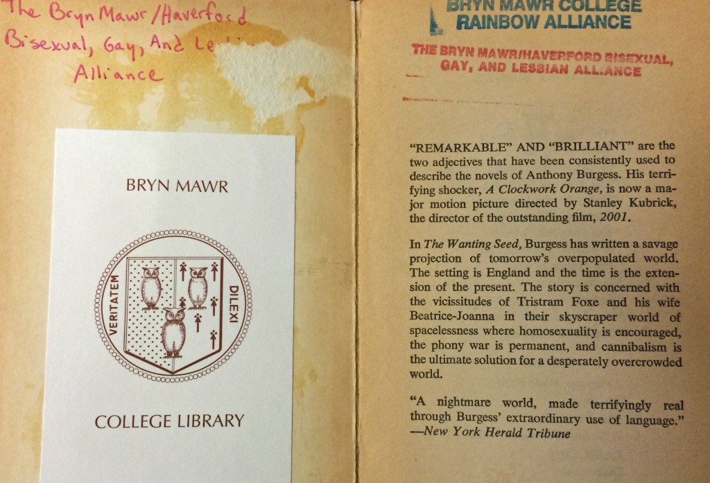 Layers of library history, as seen in Anthony Burgess,The Wanting Seed (New York: Ballantine Books, 1964), Canaday Library Rainbow Alliance & Women's Center Collection, PR 6052.U638.