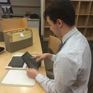 Matt Cahill in Bryn Mawr Special Collections, November 2014