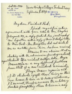 Letter from M. Carey Thomas to Marion Park (1926), via Black at Bryn Mawr tumblr.