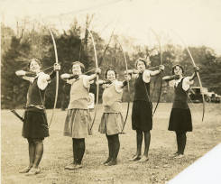 Bryn Mawr College archery team, undated, via collegewomen.org.