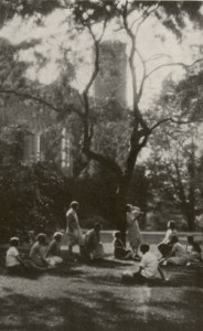 A Poetry Hour on Bryn Mawr's Campus (1930) via collegewomen.org.